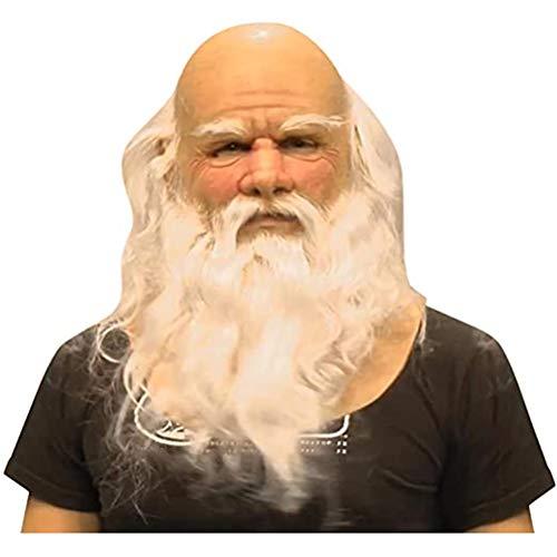 Maschera di Halloween, Maschera di Babbo Natale di Simulazione Divertente di Natale, Maschera di Lattice Realistica di Babbo Natale con Barba Bianca Lunga, Cosplay, Articoli per Feste di Natale