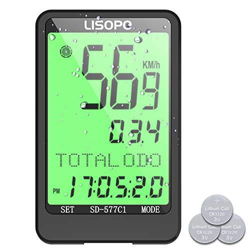 LISOPO Ciclocomputer Wireless, Contachilometri 38 Funzioni, IP66 Computer da Bici LCD Retroilluminato, Tachimetro Distanza AVS velocità 8 Lingue, Doppia Batteria, Ideale Accessori Bici per Ciclista