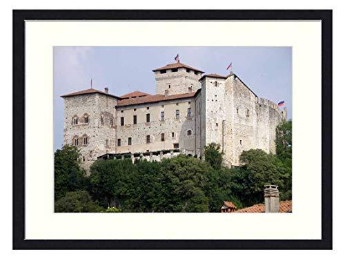 OiArt Wall Art Print Wood Framed Home Decor Picture Artwork(24x16 inch) - Borromeo Castle Lake Maggiore Angera Varese