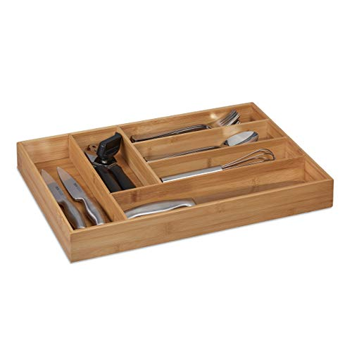 Relaxdays Bandeja para Cubiertos (6 Compartimentos, bambú, 5 x 30,5 x 43 cm), Color Natural