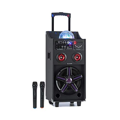 "auna Pro DisGo Box 100 Mobile PA-Anlage, 10\"" Tieftöner, 2 x 3\"" Hochtöner, 50 W RMS, LED-Lichter, Bluetooth, USB, SD-Slot, 12V/4,5A Akku, 2 UHF-Funkmikrofone, Fernbedienung, Tragegriff, schwarz"