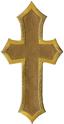 Simplicity Gold Cross Applique Clothing Iron On Patch, 1.3'' x .75''