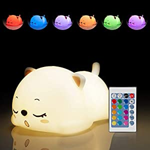 Cat Night Light for Girls, Kawaii Christmas Birthday Gifts for Kids Baby Boys Toddler Teens Cat Lover Bedroom, Silicone Sleeping Kitty Animal Rechargeable Portable Night Lamp with Remote Control