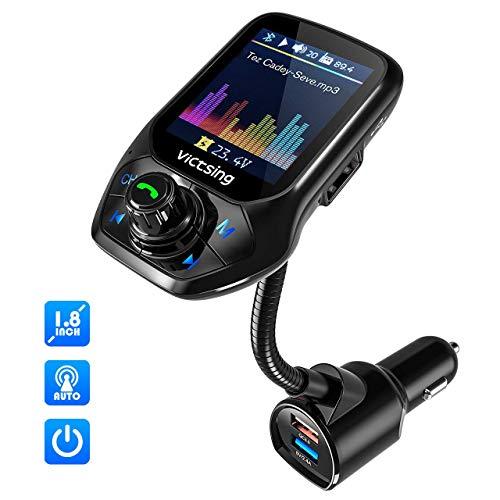 VicTsing FM-Transmitter für Auto, (Auto Frequency Tuning) 4,6 cm Farbdisplay Wireless Radio Adapter, 3 USB-Ports mit QC 3.0, 5 EQ-Modi, unterstützt Freisprechen, U-Disk/TF-Karte/AUX