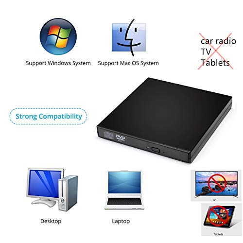 SALCAR Externes DVD Combo CD-RW Laufwerk USB 2.0 Tragbar Slim DVD Read CD Write Notebook für Windows 2000/XP/Vista/Linux/7/8/10 & Mac OS System für iMac MacBook Dell Acer Asus usw, Schwarz