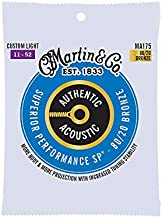 Martin Authentic Acoustic MA175 Custom-Light-Gauge Acoustic Guitar Strings, 80/20 Bronze