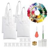 Kit de inicio de bordado con bolsas CINVEED Canvas Tote Bag Kit de bordado 67 piezas de accesorios de punto de cruz con tela Bolsas de mano en blanco para hacer regalos artesanales de bordado