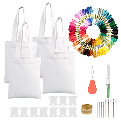 Kit de inicio de bordado con bolsas CINVEED Canvas Tote Bag Kit...