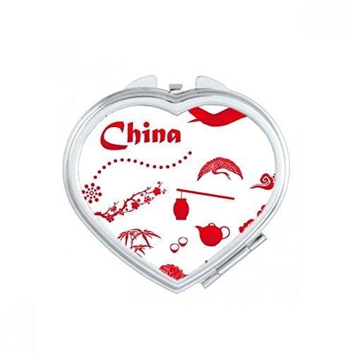 DIYthinker Lassen Sie Uns gehen, um China Bambus Laterne Peacock Flugzeug Teekanne Baum-Herz Compact Make-up Taschenspiegel Tragbare Nette kleine Hand Mehrfarbig