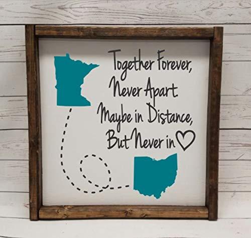 St234tyet Plaque « Together Forever Never Apart » avec les états, pour une relation longue distance, cadeau de mariage, fête de fiançailles, fixation sur le dessus