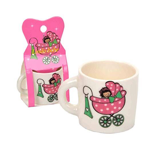 """Lote de 25 Mini Tazas de Cerámica Decorativas (A Elegir)""""Bebé Carrito"""". Recuerdos. Regalos Originales. Detalles de Bodas, Comuniones, Bautizos, Cumpleaños. CC (ROSA)"""