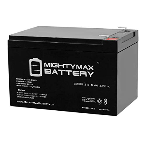 ML12-12 - 12 Volt 12 AH SLA Battery - Mighty Max Battery Brand Product,black