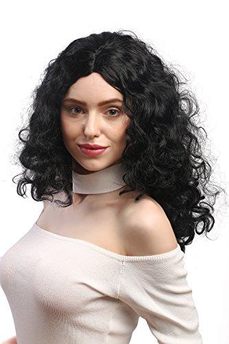 WIG ME UP ® - 3072-P103 Peluca señoras Carnaval, Super rizos voluminosos, Raya Medio, Negras 55 cm