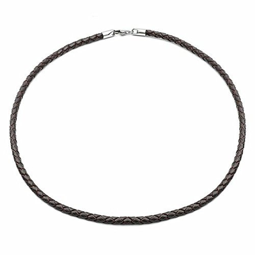 Brown 20' Leather Necklet in Genuine Braided Leather for Men or Women, Hypoallergenic Stainless Steel Lobster Clasp, Great Gift by Tribal Steel