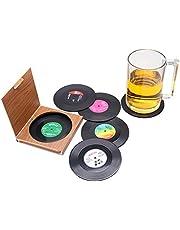 ZHEZHE 6 posavasos retro de vinilo LP estilo posavasos taza mate antideslizante aislado taza taza taza taza taza taza de café