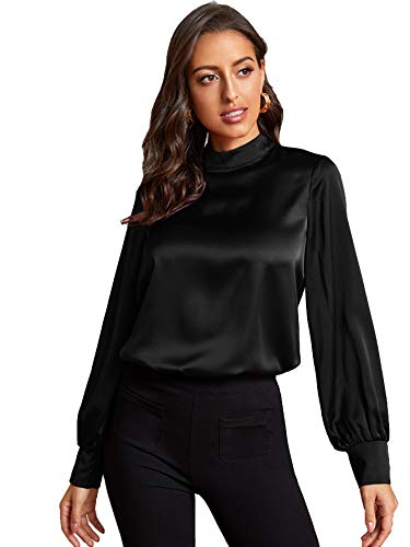 DIDK Damen Bluse Satin Top Langarmshirt Stehkragen Oberteil Tunika Büro Shirts Schwarz XL