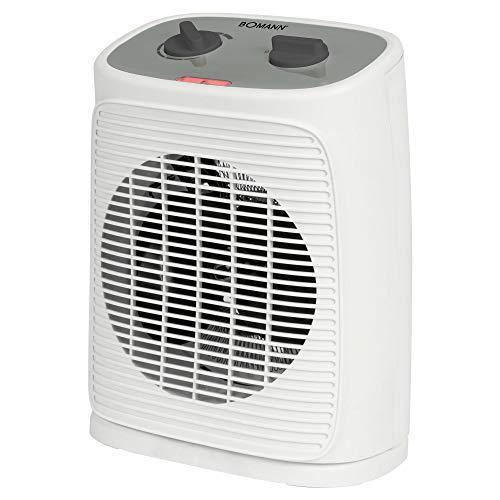 Bomann Heizlüfter HL 6041 CB, mobiler&kompakter Heizlüfter, 2 Heizstufen (1000/2000 W), Oszillierend (abschaltbar), Kaltstufe (Ventilator), weiß