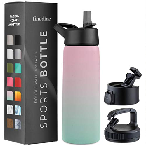 Triple Insulated Stainless Steel Water Bottle with Straw Lid - Flip Top Lid - Wide Mouth Cap (26 oz) Insulated Water Bottles, Keeps Hot and Cold - Great for Hiking & Biking (Dreamy Pink-Green)