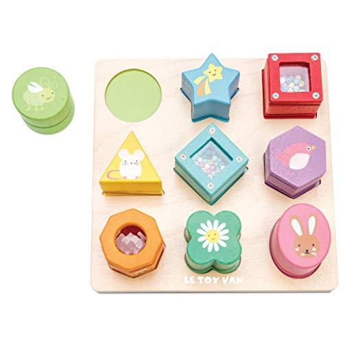 Le Toy Van - Juego Petilou encajable de madera | Juego sensorial de formas de madera | Montessori bebé juguete sensorial para niños y niñas - A partir de +12 meses