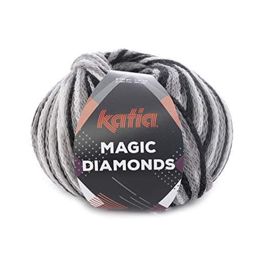 Katia 100 g Magic Diamonds – Color 51 Negro/Gris/Blanco – un Original Hilo, Tejer un patrón de artán con Cuadros