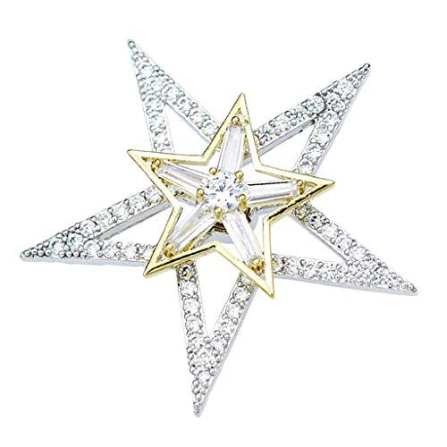 chiwanji Strass Anstecker Pin Herren Brosche Anzug Brosche Hochzeit Dekoration Geburtstags Geschenk Pin - Stern