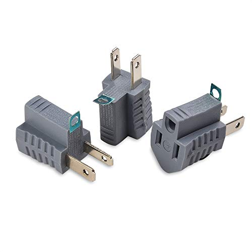 Cable Matters 3-Pack Polarized Grounding Adapter (3 Prong to 2 Prong Adapter) - Allows a 2 Prong Outlet to Accept 3 Prong Plugs
