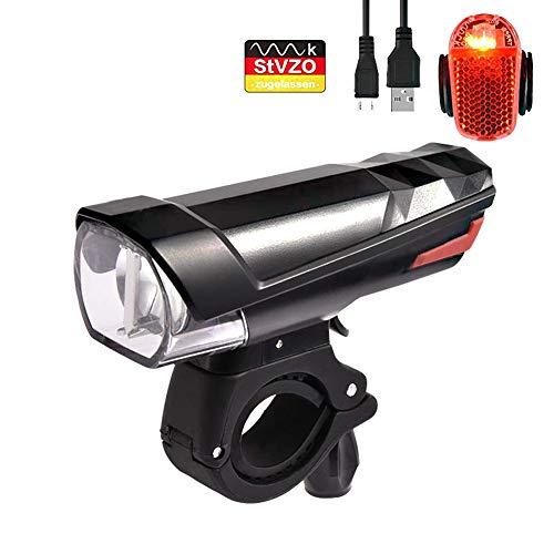 GodUp Fahrradlicht Set Sport LED Beleuchtung StVZO Fahrradlampe USB Wiederaufladbare Fahrradbeleuchtung mit wasserdichte Front und Rücklicht (Schwarz)