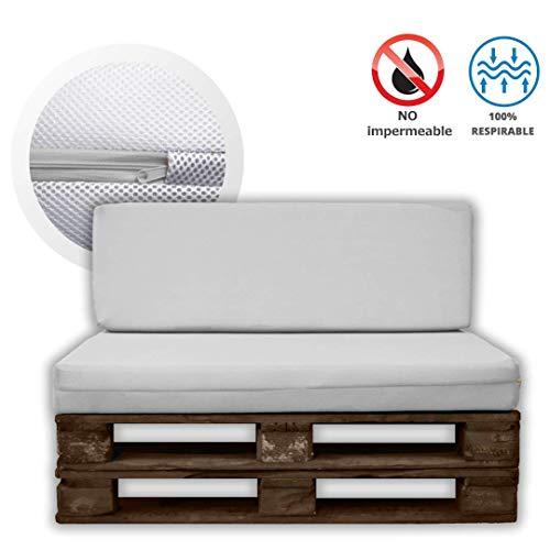 MICAMAMELLAMA Pack Asiento + Respaldo para Sofá de Palet Exterior e Interior - Funda Blanca de Tejido 3D Hipertranspirable - Espuma HR Alta Densidad - Grosor 12cm