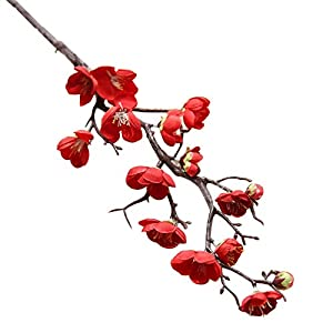 Nuxn 5 Pcs Artificial Red Plum Blossom Long Stem Plastic Simulation Cherry Blossoms Branches Fake Flowers Silk Peach Flowers Floral Wedding Bouquet Arrangements Home Decor