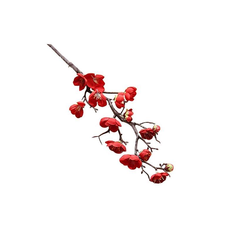 silk flower arrangements nuxn 5 pcs artificial red plum blossom long stem plastic simulation cherry blossoms branches fake flowers silk peach flowersfloral wedding bouquet arrangements home decor