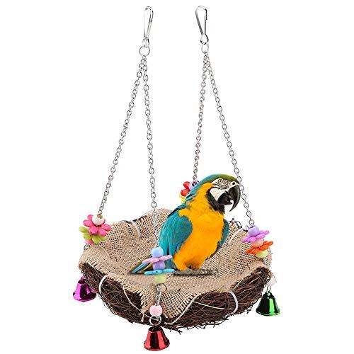 Vogel Rattan Nest, Papagei Hängen Schaukel Spielzeug mit Glocken Vogelkäfig Hängematte für Cockatoo Macaw Amazonas Afrikaner Grey Budgie Parakeet Cockatiel Lovebird Finch (L)
