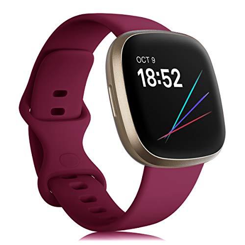 Onedream Armband Kompatibel für Fitbit Sense/Versa 3 Uhrenarmband für Damen Herren, Silikon Sport Zubehör Wasserdicht Ersatzarmband Kompatibel für Fitbit Versa 3/ Sense Weinrot S