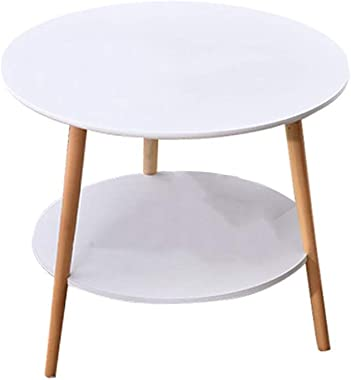 C-J-Xin White Tables, Simple Indoor Small Round Table Sofa Bed Side Small Round 2 Tier Table Bedroom Balcony Coffee Tables Li