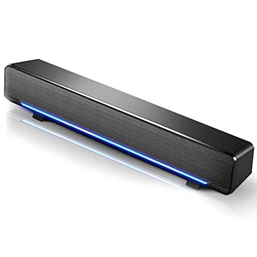 Barra de Sonido USB TV, Sonido estéreo 3D Mini Barra de Sonido con Sonido Envolvente de Bajos con luz de respiración LED Compatible con TV, Escritorio, computadora portátil (Black)