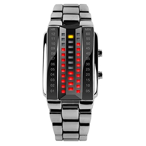 Highdas Cool Creative LED-Anzeige wasserdichte elektronische Uhr Paar Liebhaber Stilvolle Luminous-Armbanduhr Mann/Silber