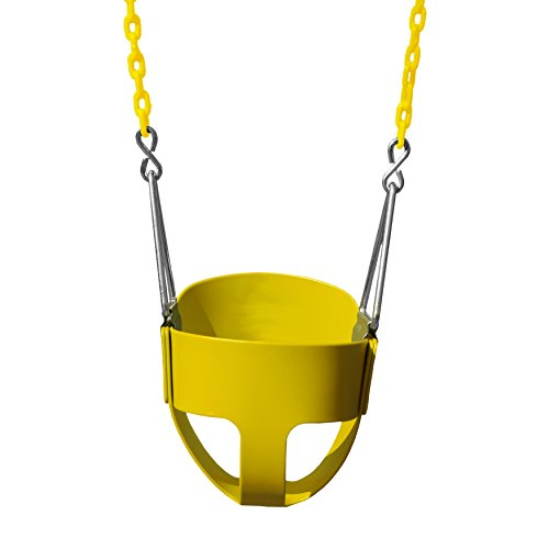 Gorilla Playsets 04-0008-Y/Y Full Bucket Toddler Swing, Yellow Bucket, Yellow 60' Plastic Coated Chains, 50 lb Capacity