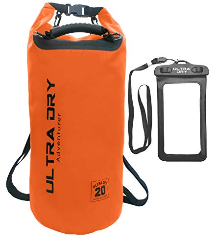 Premium Waterproof Bag, Sack with phone dry bag and long adjustable Shoulder Strap Included, Perfect for Kayaking/Boating/Canoeing/Fishing/Rafting/Swimming/Camping/Snowboarding (orange, 20 L)
