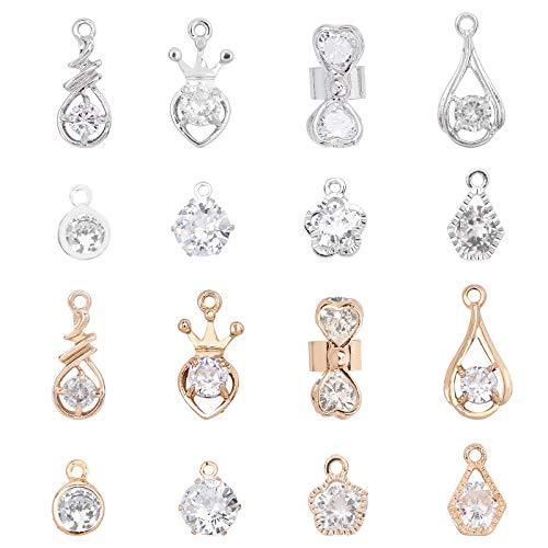 PandaHall 64 colgantes de aleación de circonitas cúbicas de 8 estilos, colgantes de plata y oro y cristal de plata, pequeños colgantes para collares, pulseras, pendientes