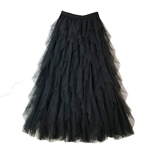 Falda Larga De Tul Fiesta De Tutú para Mujer Plisadas Faldas Cintura Elástica Negro Un tamaño