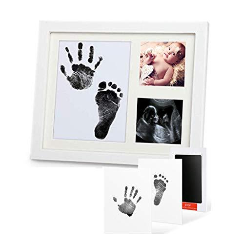 Baby Handabdruck und Fußabdruck, Calemei Baby Fotorahmen Set für Neugeborene Mädchen Jungen,Holz Bilderrahmen mit Gipsabdruck - Geschenken für Babys, Neugeborene - Erinnerungen für die Ewigkeit