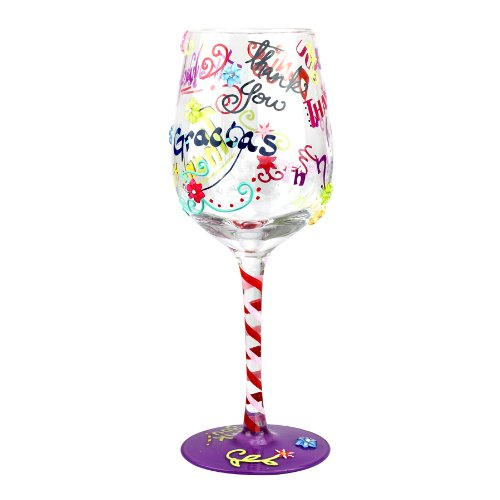 Top Shelf Thank Glass – Unique Wine Lover Gifts-Hand Painted, 15oz, multi-colored