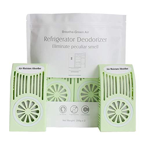 CANAGER Refrigerator Deodorizer, Freezer Odor Eliminator,Better Than Baking Soda-(Green,2 Pack)