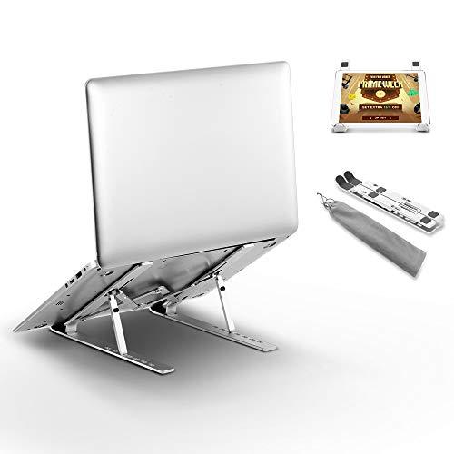 docooler Supporto PC Portatile, 7 Angoli Regolabile Pieghevole, Alluminio Supporto per Laptop Portatile Supporto per Notebook/Laptop Tablet, Argento