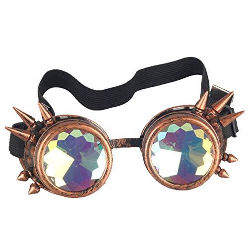 ZAIQUN Gafas Steampunk con remaches soldados Estilo gótico cosplay Gafas vintage rústicas para imaginativas fiestas de disfraces, Red Copper