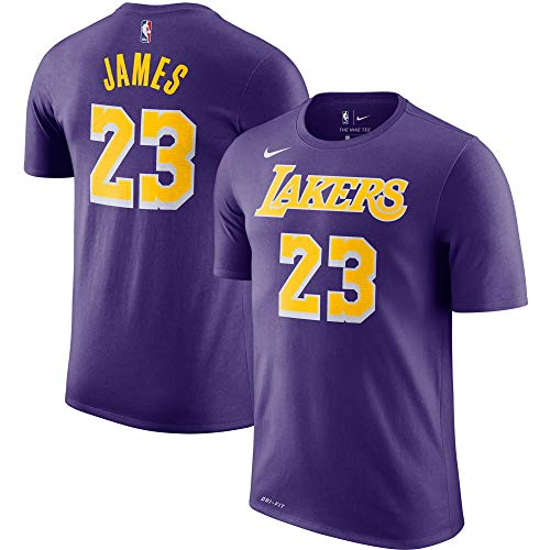 Nike Lebron James Los Angeles Lakers NBA Boys Youth 8-20 Purple Name & Number Performance Dri-Fit T-Shirt (Youth Small 8)