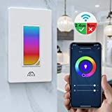 MoKo Smart Switch, WiFi Light Switch with Built-in RGB Dimmer Night Light, Remote/Voice Control, Work with Alexa/Google Home/SmartThings, Timer Function, Only Supports 2.4GHz Network - White