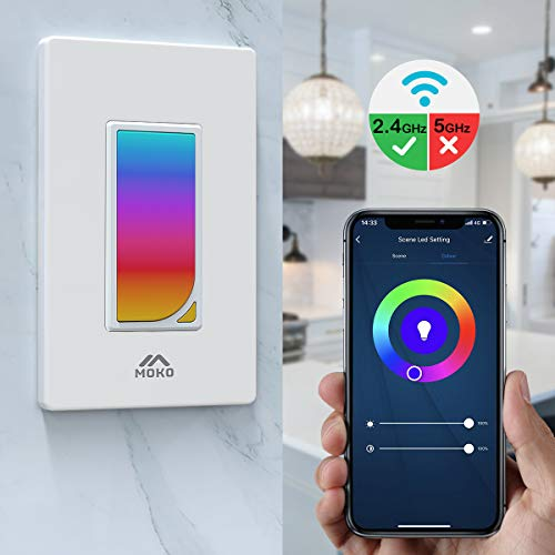MoKo Smart Switch, WiFi Light Switch with Built-in RGB Dimmer Night Light, Remote Control & Voice Control, Work with Alexa & Google Home, Timer Function, Only Supports 2.4GHz Network - White