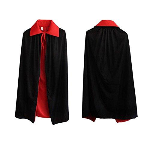 Skyllc Niño Halloween Vestir Adicto a Magos Capa Mágica Manto Funny Masquerade Props Cosplay Kits Negro Rojo Reversible