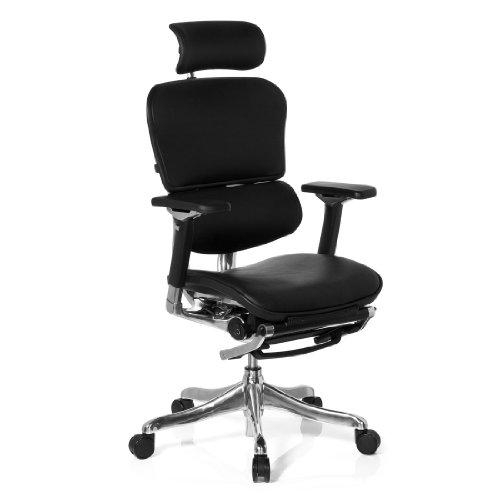 hjh OFFICE 652990 Bürostuhl Chefsessel ERGOHUMAN LEGPRO Leder schwarz, mit Beinablage individuell einstellbar inkl. Sitzneigefunktion, Bürodrehstuhl ergonomisch, Drehstuhl, Schreibtischstuhl, Büro