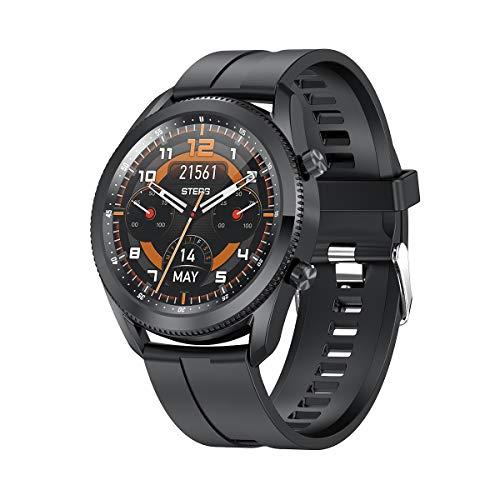 Moda Smart Watch Business Casual Men's Reloj Marcación se Puede Girar para Interrumpir la Interfaz de la función Redondo L61, Monsteramy (Color : Black)